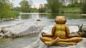 Self awareness Image of a frog made of bronze meditating near a body of water.