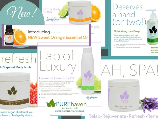 Pure Haven Essentials spa products and orange essential oil