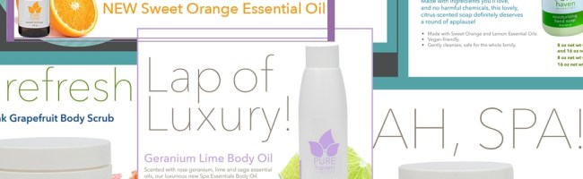 Non toxic spa products and orange essential oil