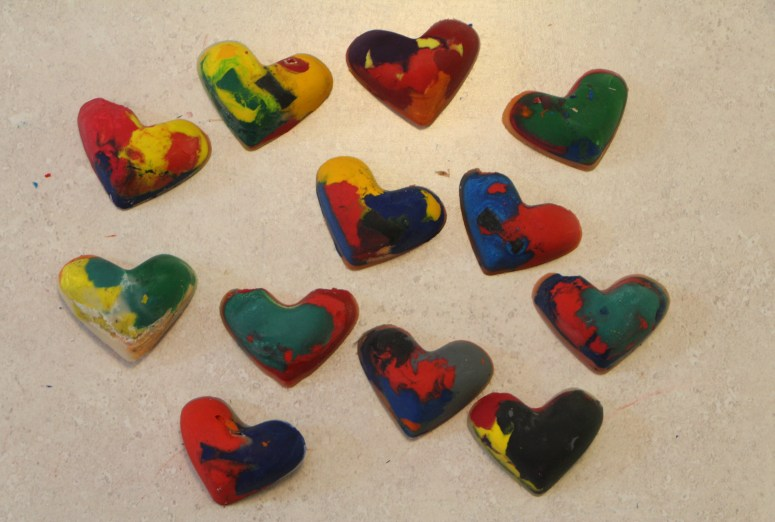 Homemade Recycled Heart Shaped Crayons