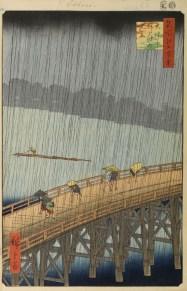 "Hiroshige, ""Sudden Shower over Shin-Ōhashi bridge and Atake"" from ""One Hundred Famous Views of Edo"""
