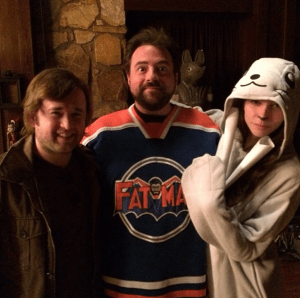 kevin smith haley joel osment genesis rodriguez tusk set photo