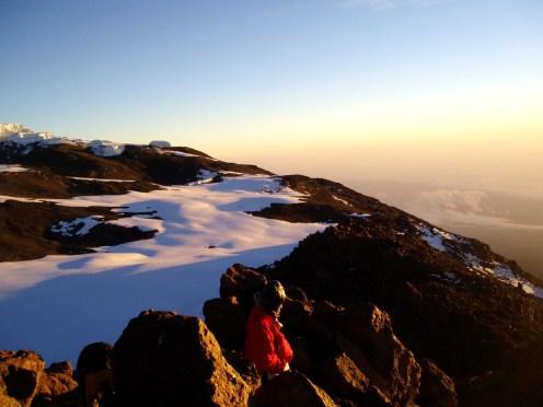 Watching sunrise on top of Africa, Mt Kilimanjaro, Tanzania