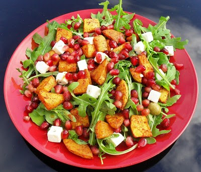 Juicy summer squash & pomegranate rainbow salad Dinner Grainfree Lunch snack