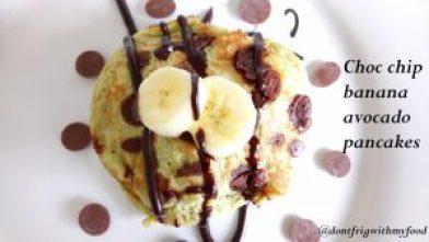 Chocolate chip banana avocado pancakes Breakfast Dinner Lunch