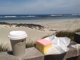 Coffee and vanilla slice, Pt Fairy, Victoria. Photo Erle Levey