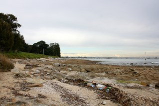 Rubbish litters the foreshore at Botany Bay, near the landing site of Capt James Cook in 1770.