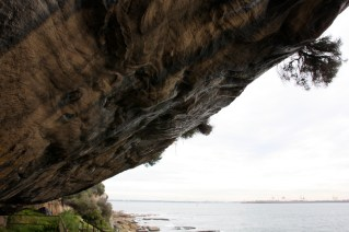 Rock overhang at Cape Solander at the entrance to Botany Bay.
