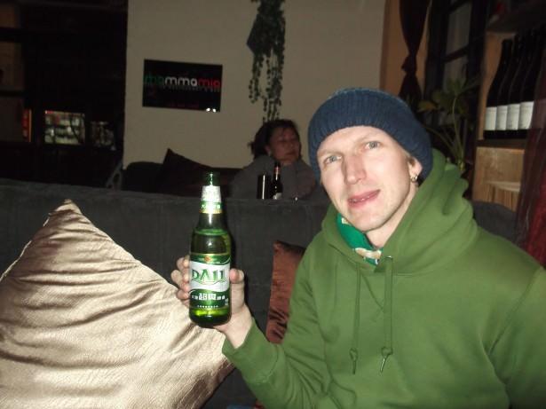 Jonny Blair drinking Dali beer in Shangri La