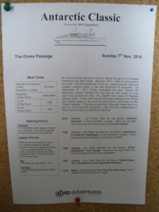 Crossing the Drake Passage in Antarctica trip daily bulletin on board.
