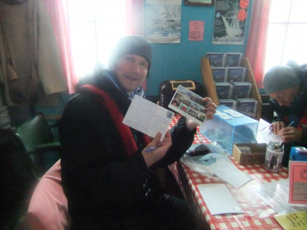 postcard writing in Port Lockroy British Antarctica Base