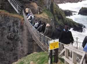 carrick a rede rope bridge looking back at Northern Ireland