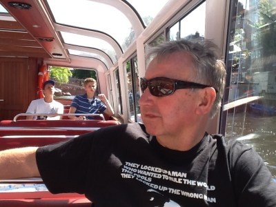 My Dad relaxing on a boat in Amsterdam