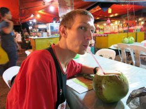 coconut juice and chicken wings in Kota kinabalu