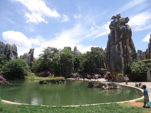 pond at stone forest yunnan shilin