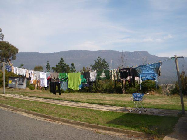 hanging washing on a line in tasmania