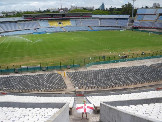 Flying the Northern Ireland flag inside Estadio Centenario, Montevideo, Uruguay.