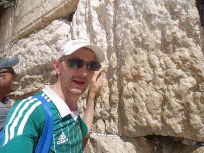 "Touching the ""Wailing Wall"" in Jerusalem."