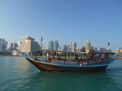 Quirky transport types - a dhow cruise in Doha harbour.