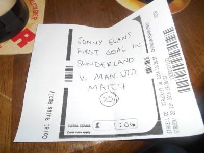 Our Jonny Evans bet in January 2014