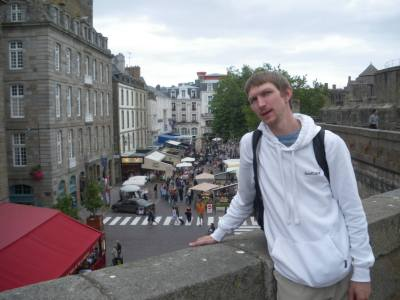 Backpacking the walls of St. Malo in France.