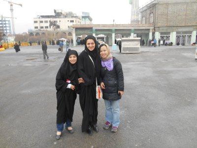 My girlfriend and two local Muslims at the Imam Reza Shrine in Mashhad.