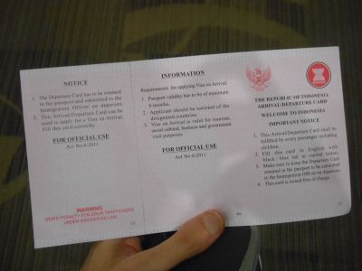 indonesia visa form