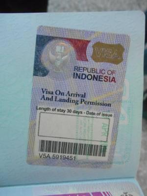 Indonesian Visa on arrival in Denpasar, Bali