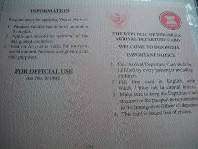 Main Indonesia Visa Form