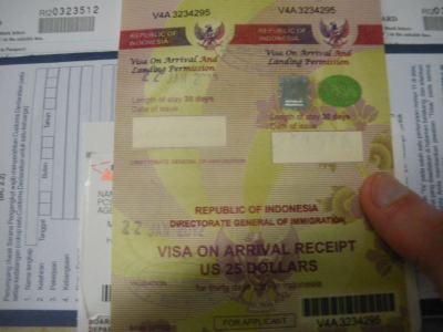 Indonesian Visa receipt in Jakarta, Java