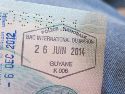 Exit stamp from French Guyana at St Laurent du Maroni.