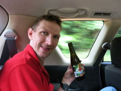 Having a beer on route to Paramaribo, the cool capital city of Suriname.