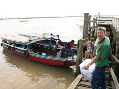 Boarding the party boat back to Paramaribo!