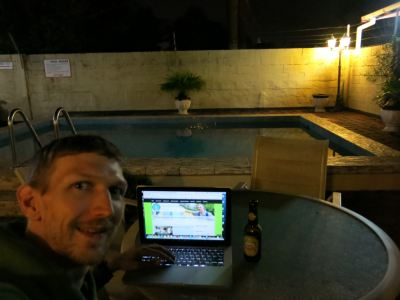 Wifi by the pool at night with a beer!