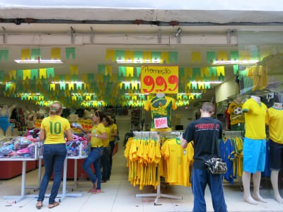 Checking out the Brazilian merchandise in Belem.