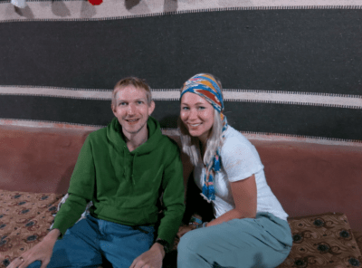 In the campsite in Jordan - Jonny of Dont Stop Living and Laura of What About Her