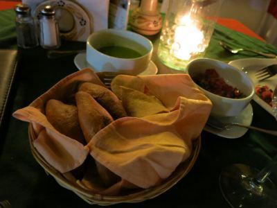 Typical starter - bread, nachos, sauces.