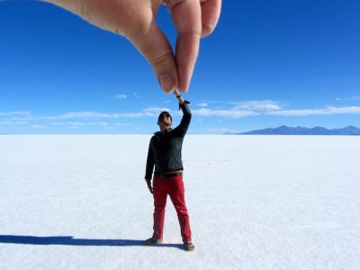 World Travellers: Raphael Zoren in the salt desert of Bolivia.