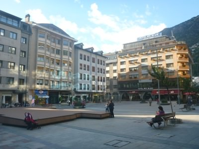 The main square and street in Escaldes Engordany.