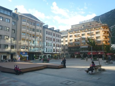 The main square and street in Escaldes Engordany - just 5 minutes walk.
