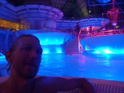 Enjoying the hot tubs in Caldea.