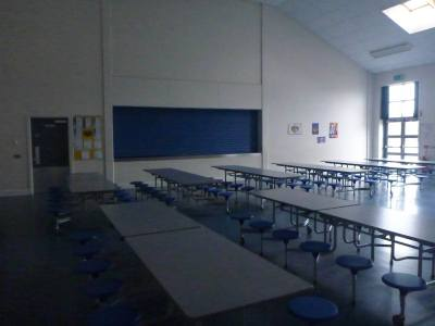 Kitchen and dining hall.