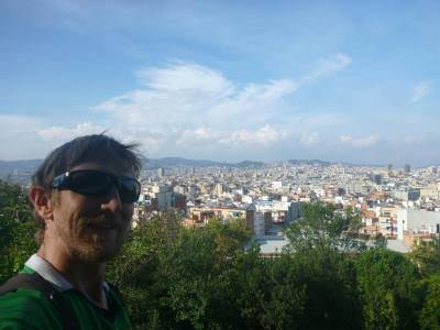 View from Monjuic over Barcelona, Catalonia.