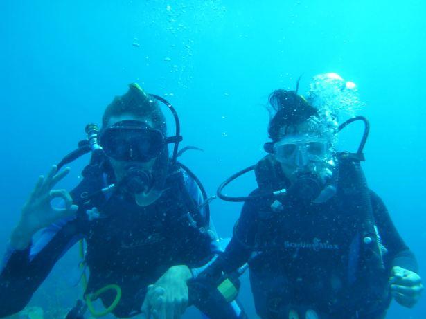 Panny Yu and I deep sea diving off the coast of Honduras.