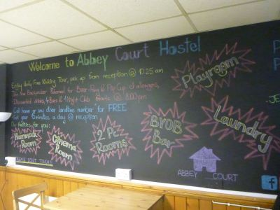 The information board at the Abbey Court.