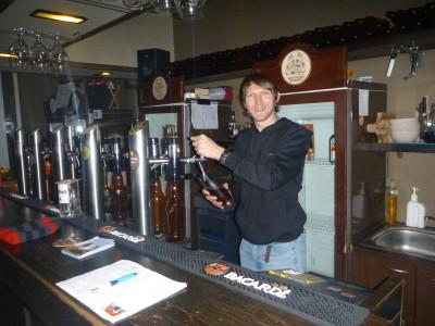 Behind the taps at Gyvas pub.