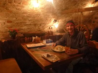 Enjoying my Lithuanian meal