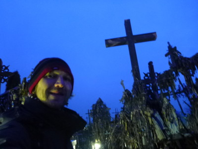 All alone at Touring Kryziu Kalnas (The Hill of Crosses)