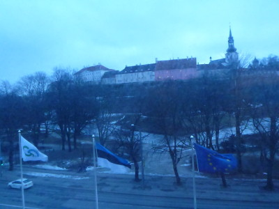 View out of my bedroom window in Hotel Shnelli, Tallinn.