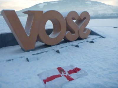 The Voss sign and my travelling Northern Ireland flag.